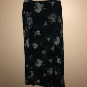 Long black skirt with gray flowers